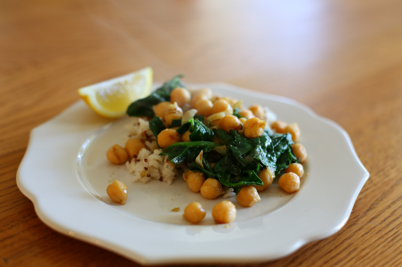 Spiced chickpeas and spinach