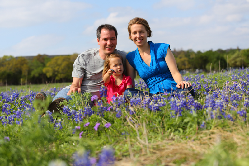 Family in the bluebonnets